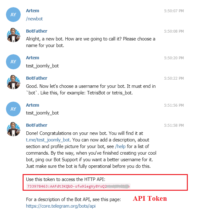 Get API token for the Telegram